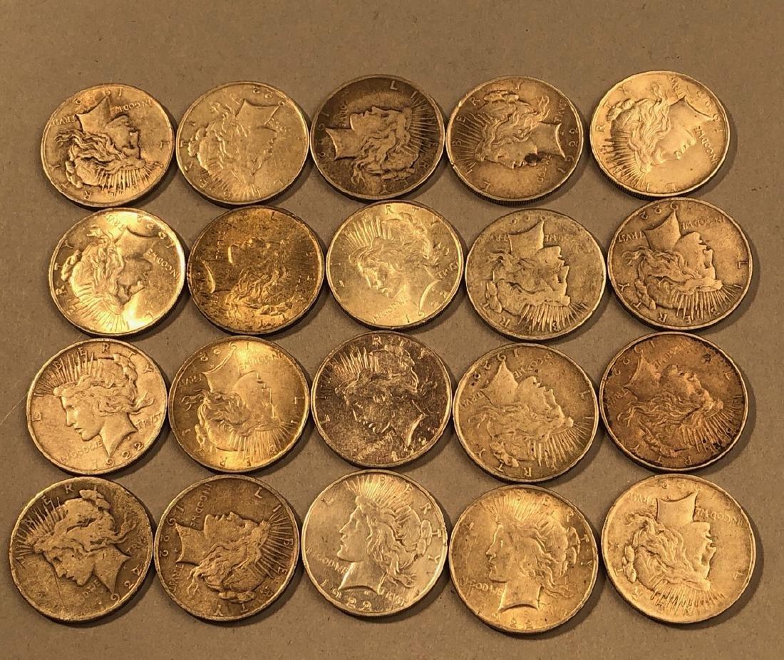 20- 1922 Peace Silver Dollars