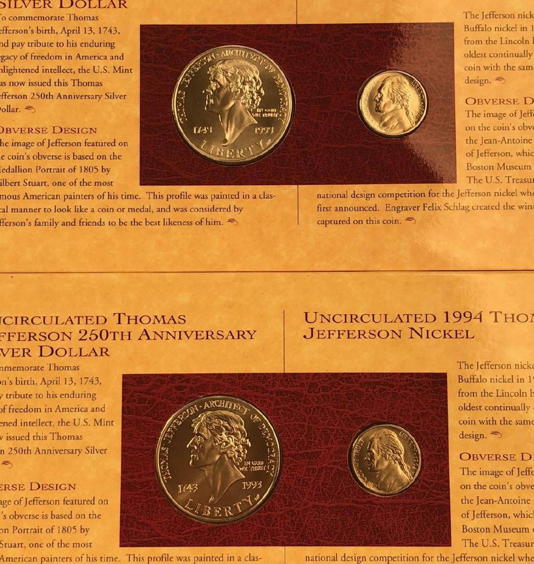 2 Sets Thomas Jefferson Coin and Currency Set