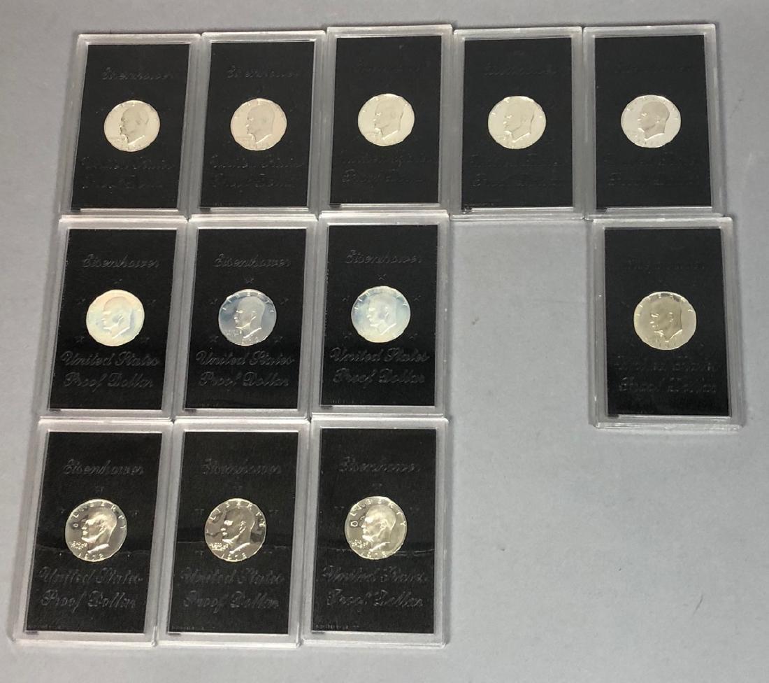 12 United States Eisenhower Proof Dollars.  Five