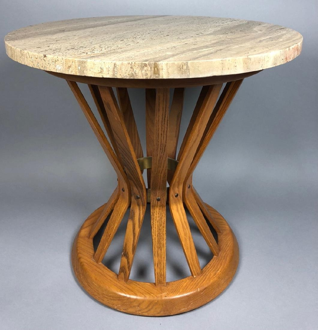 DUNBAR Travertine Top Corseted Oak Slat End Table
