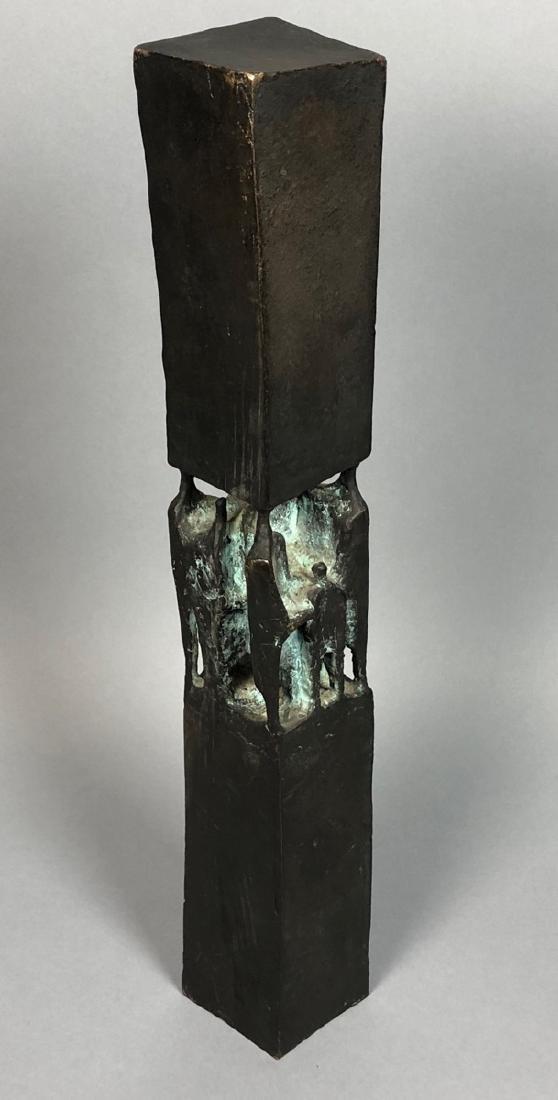 Signed GT 1970 Black Bronze Tall Figural Sculptur