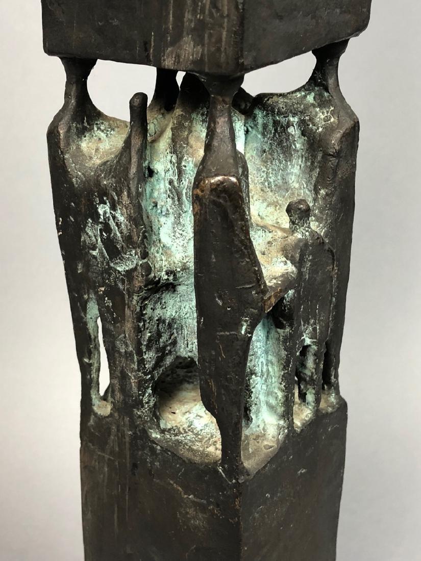 Signed GT 1970 Black Bronze Tall Figural Sculptur - 2