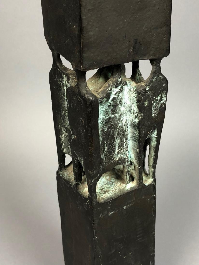 Signed GT 1970 Black Bronze Tall Figural Sculptur - 3