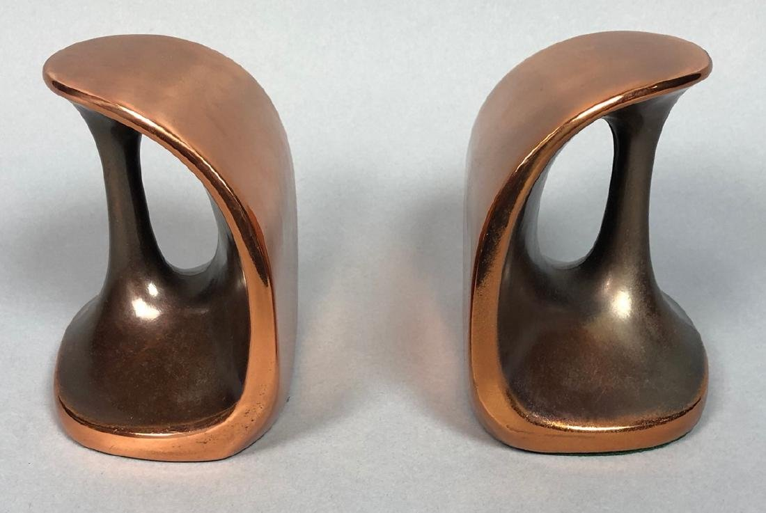 Pr Copper tone BEN SEIBERT Modernist Bookends. Sh