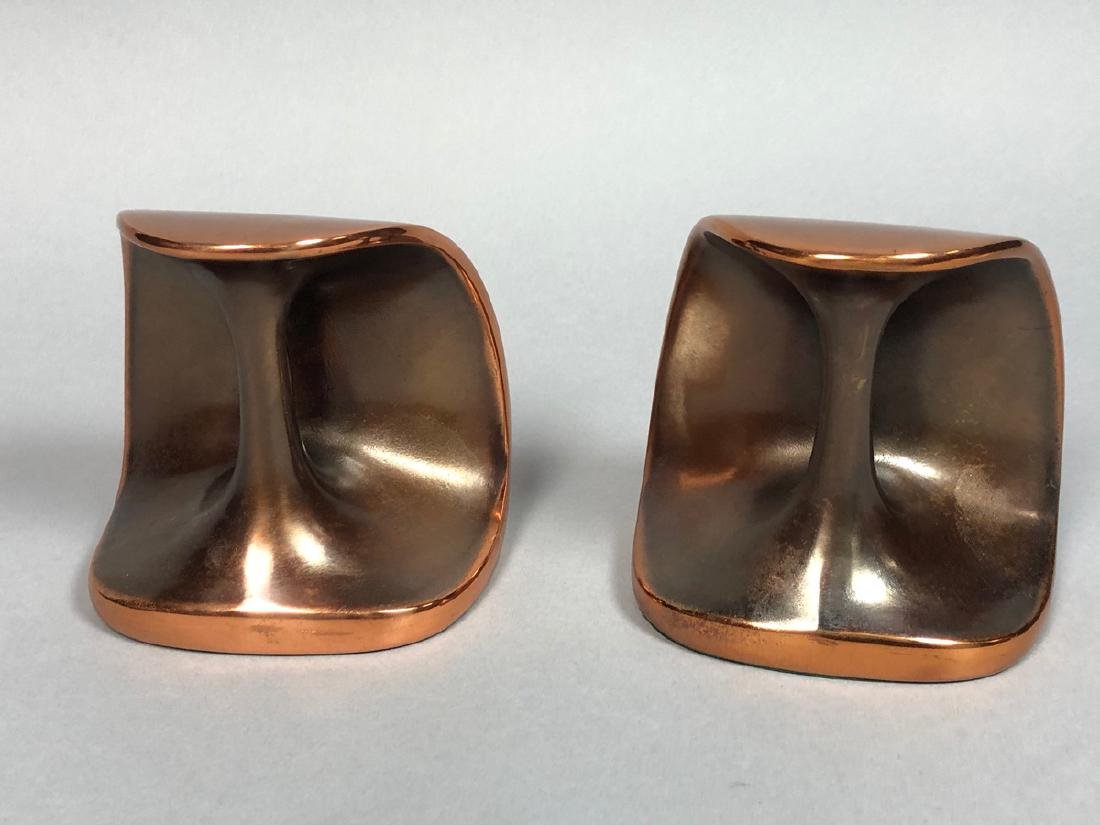 Pr Copper tone BEN SEIBERT Modernist Bookends. Sh - 5