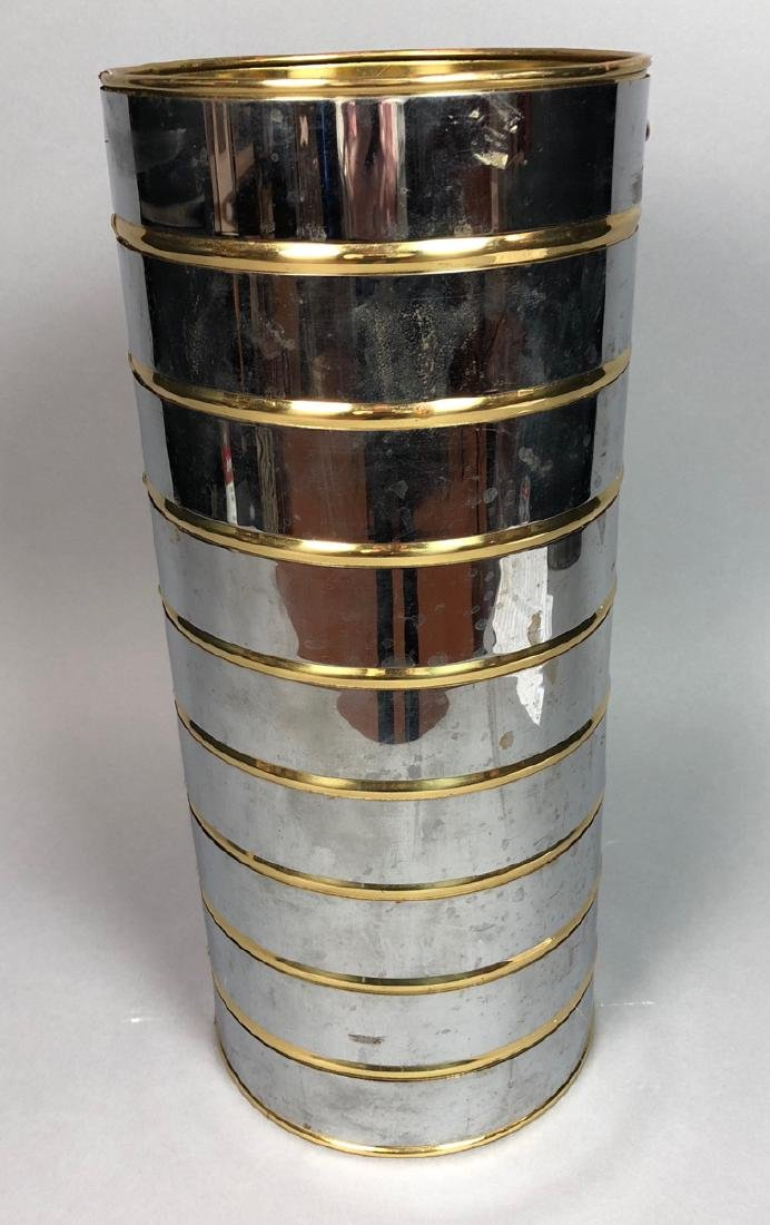 English Chrome & Brass Mid Century Umbrella Stand