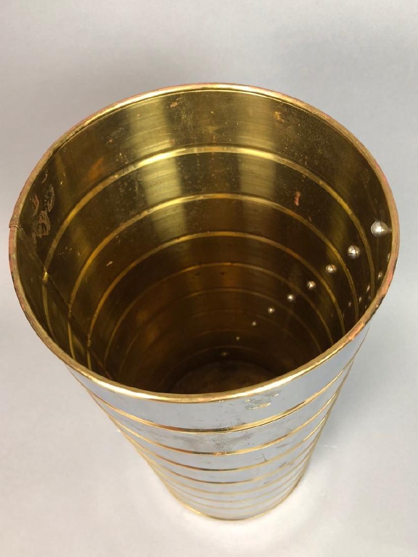 English Chrome & Brass Mid Century Umbrella Stand - 2