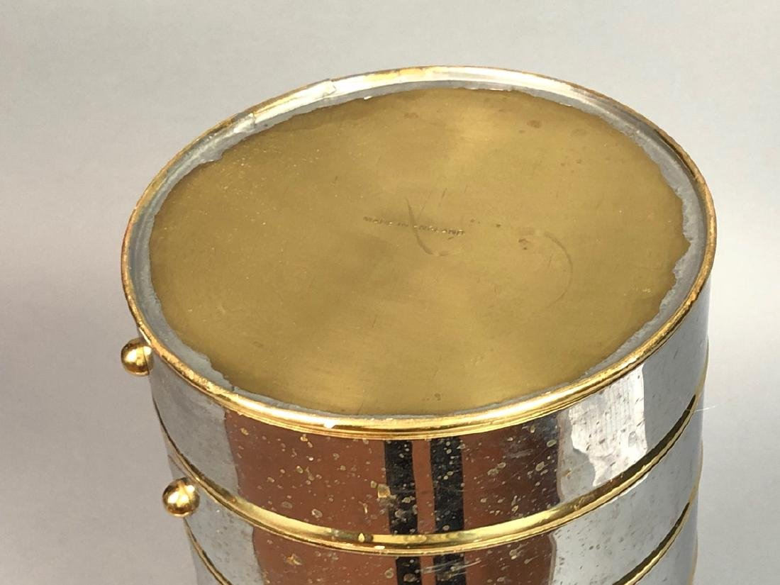 English Chrome & Brass Mid Century Umbrella Stand - 4