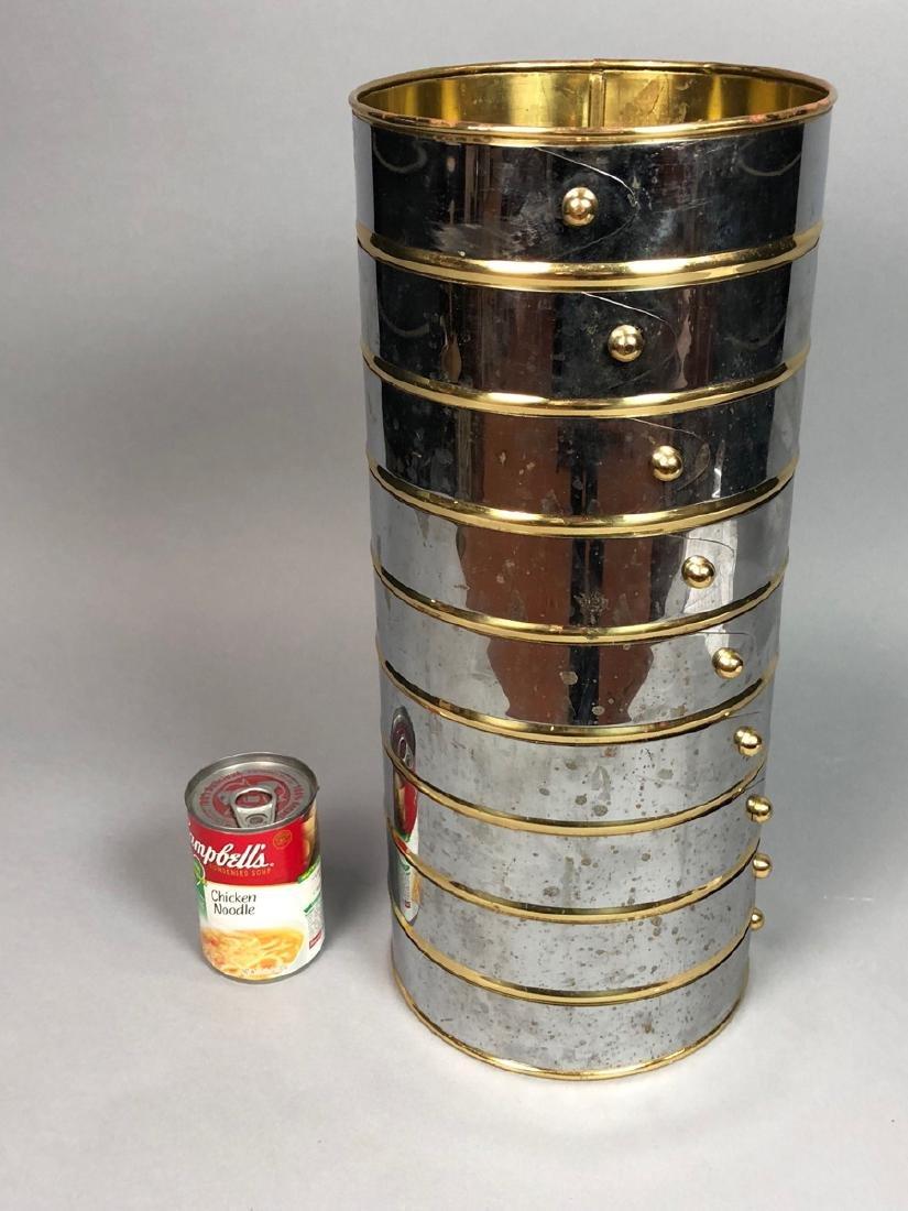 English Chrome & Brass Mid Century Umbrella Stand - 5
