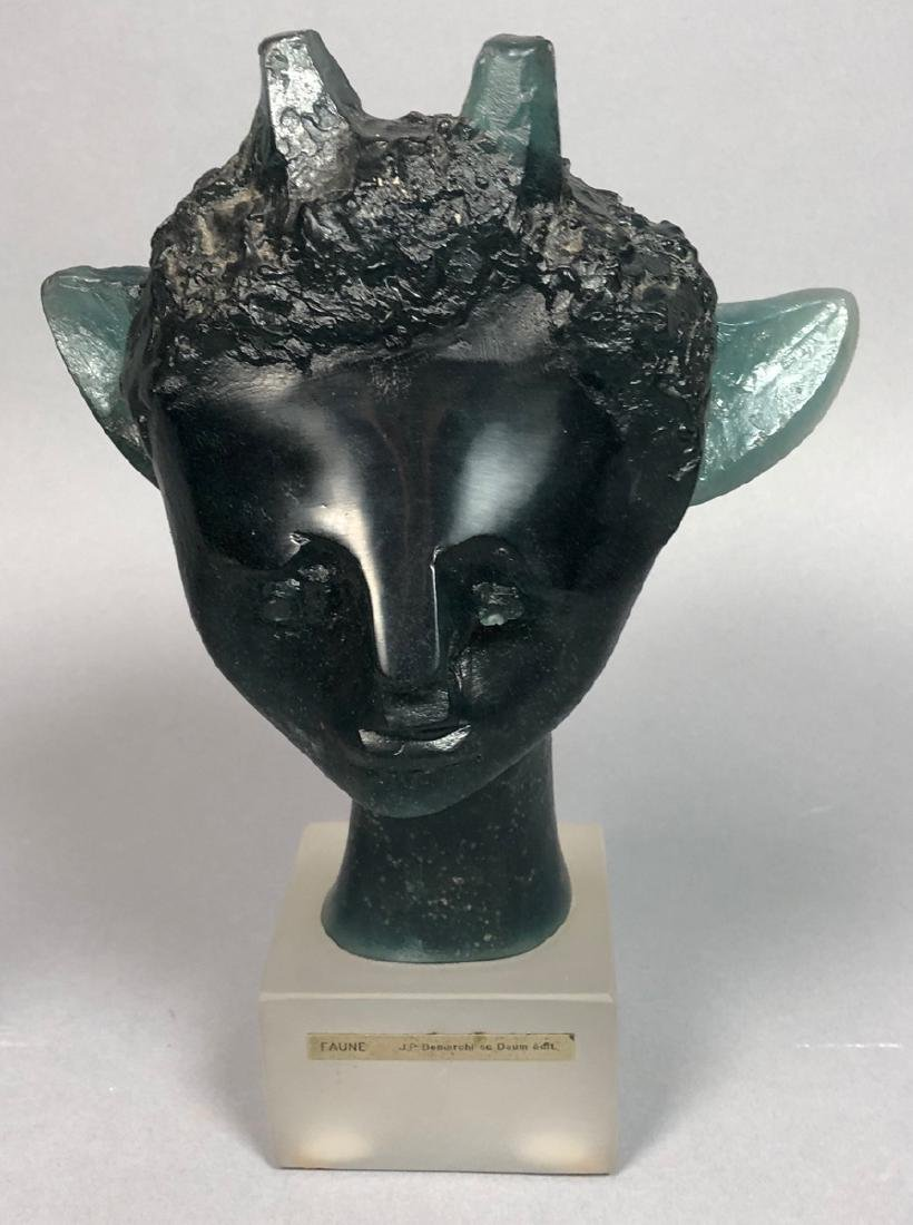 "DAUM French Crystal Faun Head. JP DEMARCHI ""Faune"