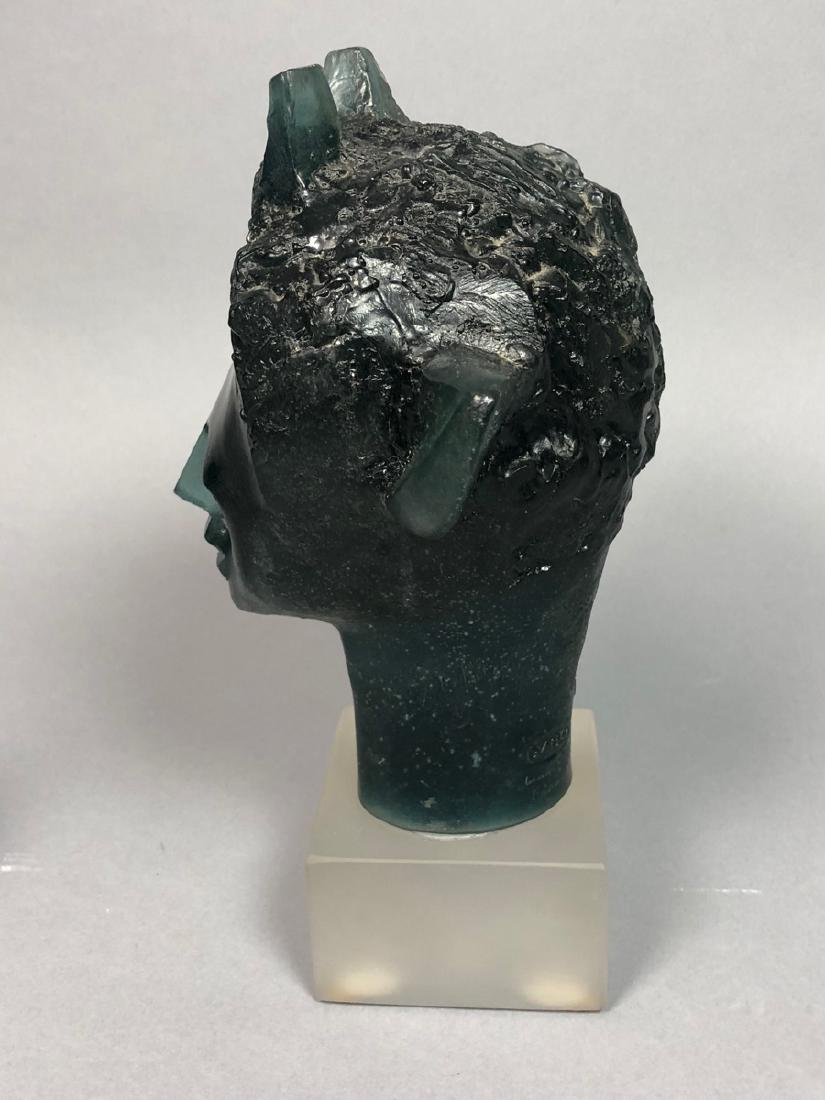 "DAUM French Crystal Faun Head. JP DEMARCHI ""Faune - 2"