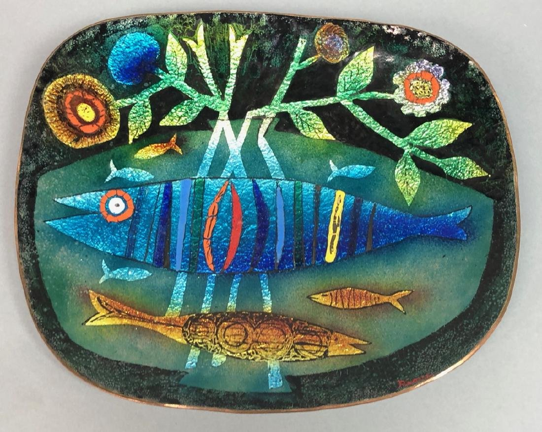 RIMI Modernist Enamel Fish Copper Plate. Modernis