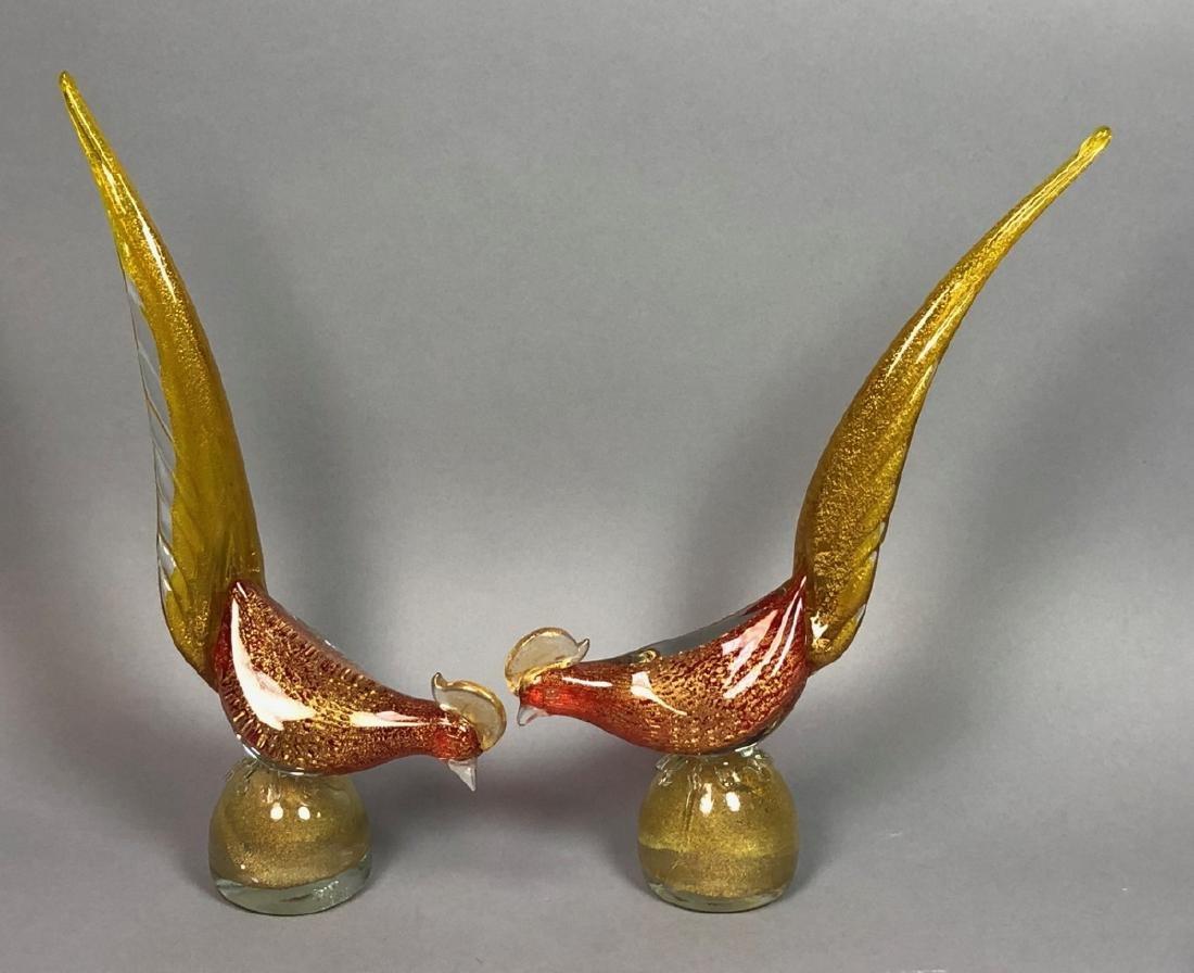 Pr Italian Murano Art Glass Bird Sculptures. Red