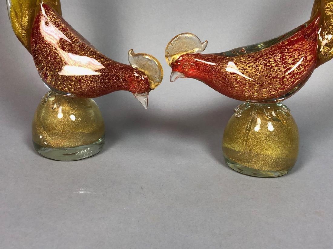 Pr Italian Murano Art Glass Bird Sculptures. Red - 2
