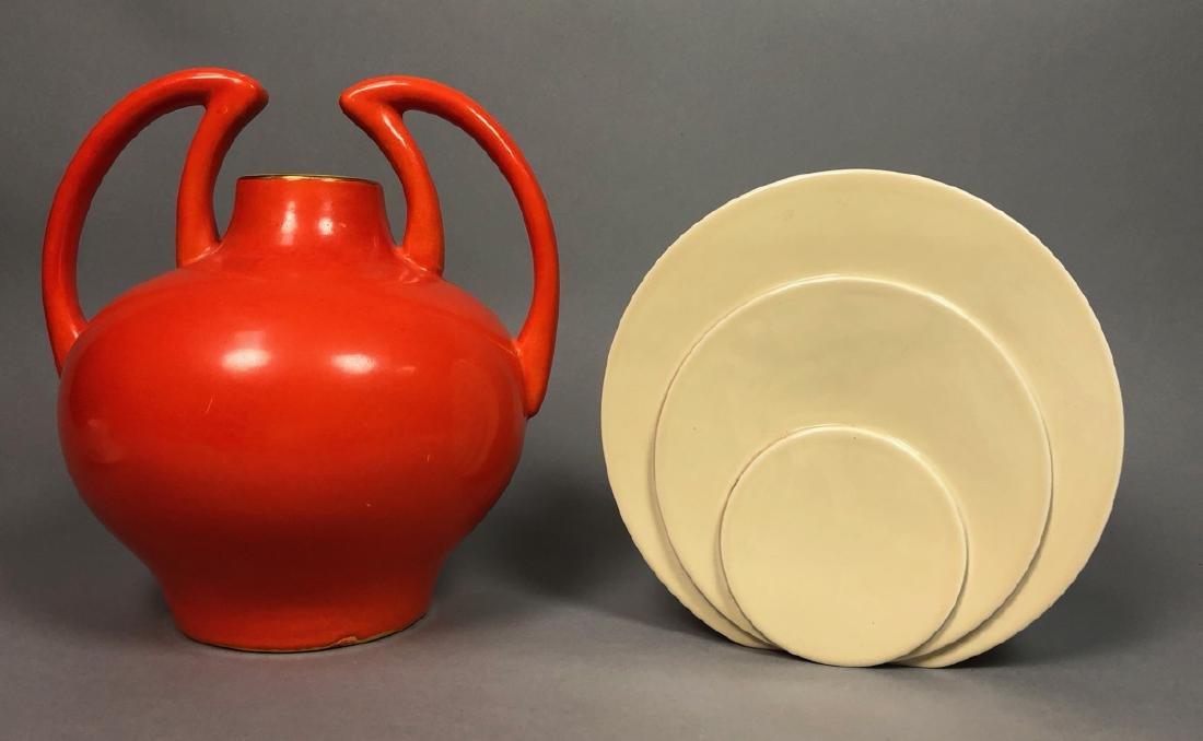 2pc Mid Century Modern Pottery Vases. 1) TRENTON