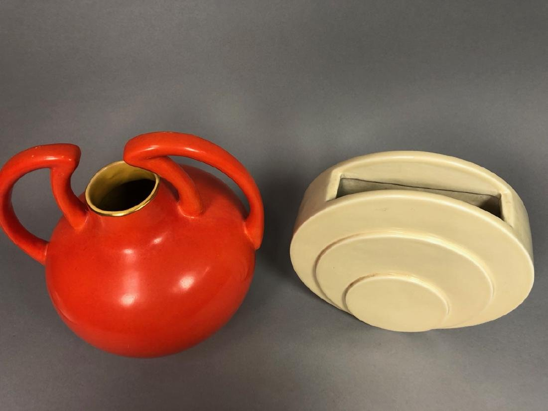 2pc Mid Century Modern Pottery Vases. 1) TRENTON - 2