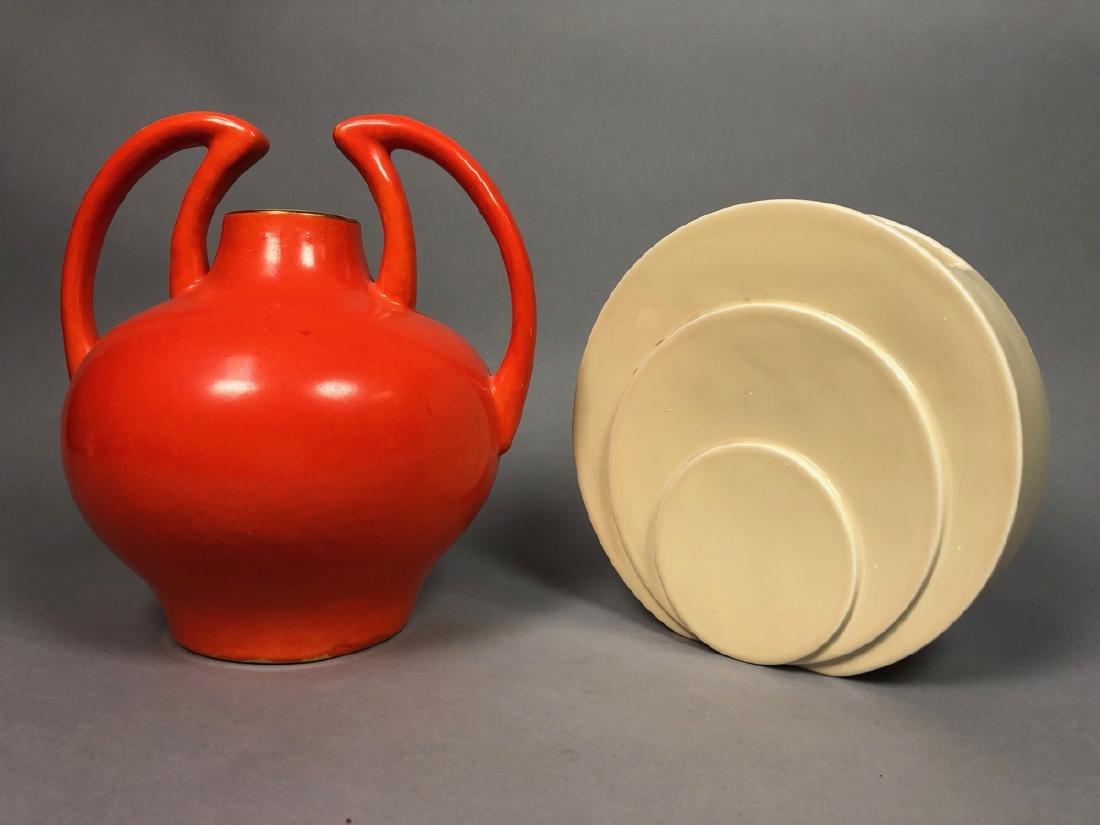 2pc Mid Century Modern Pottery Vases. 1) TRENTON - 3
