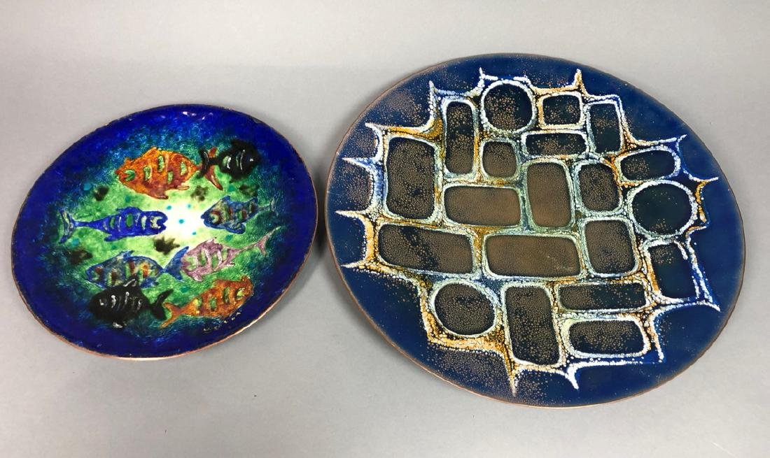 2 Mid Century Enamel Chargers. 1) Signed cobalt b