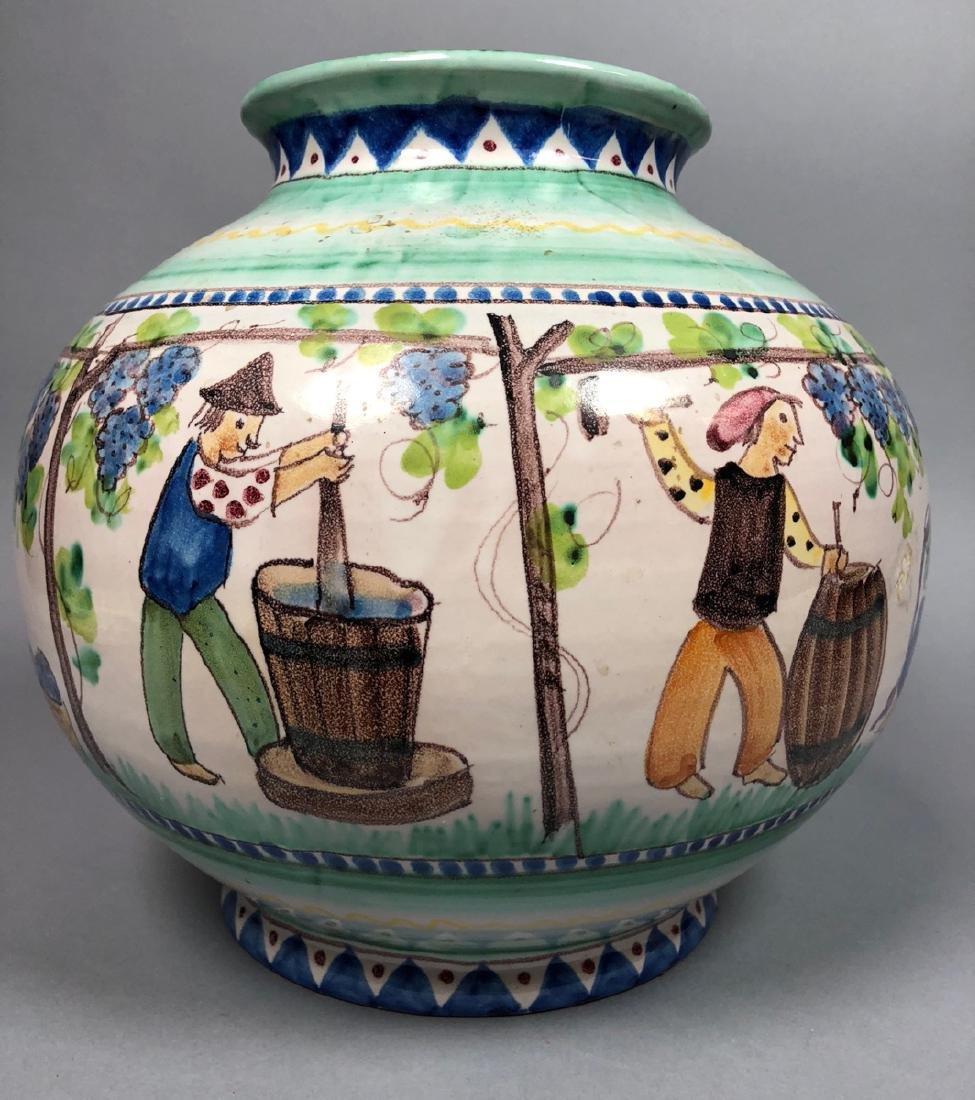 Lg V. PINTO VIETRI Italian Pottery Vase. Bulbous