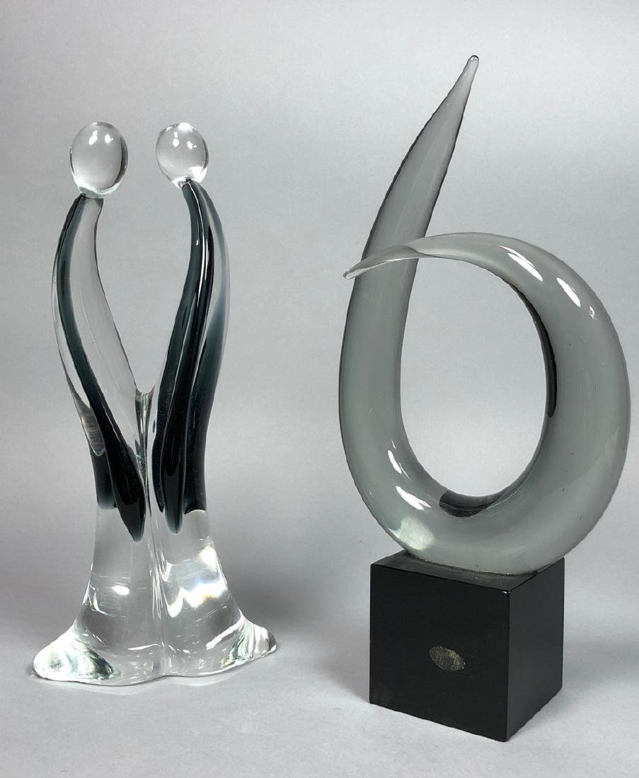 2 Murano Glass Table Sculptures. 1) Smoked glass