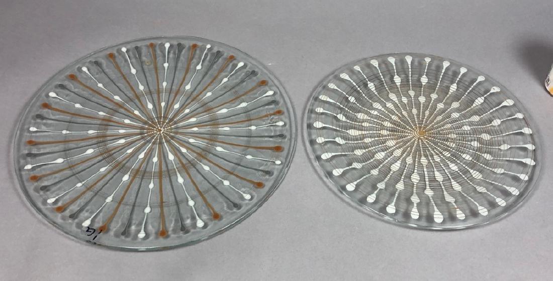 2pc MICHAEL HIGGINS Modern Art Glass Chargers. Ea
