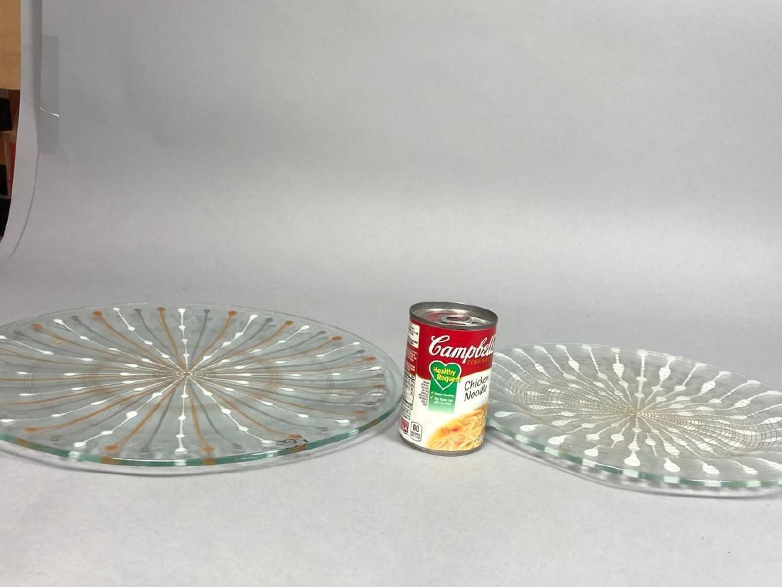 2pc MICHAEL HIGGINS Modern Art Glass Chargers. Ea - 5