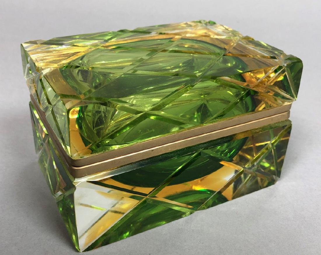 Heavy Murano Italian Cased Glass Box. Carved Quil