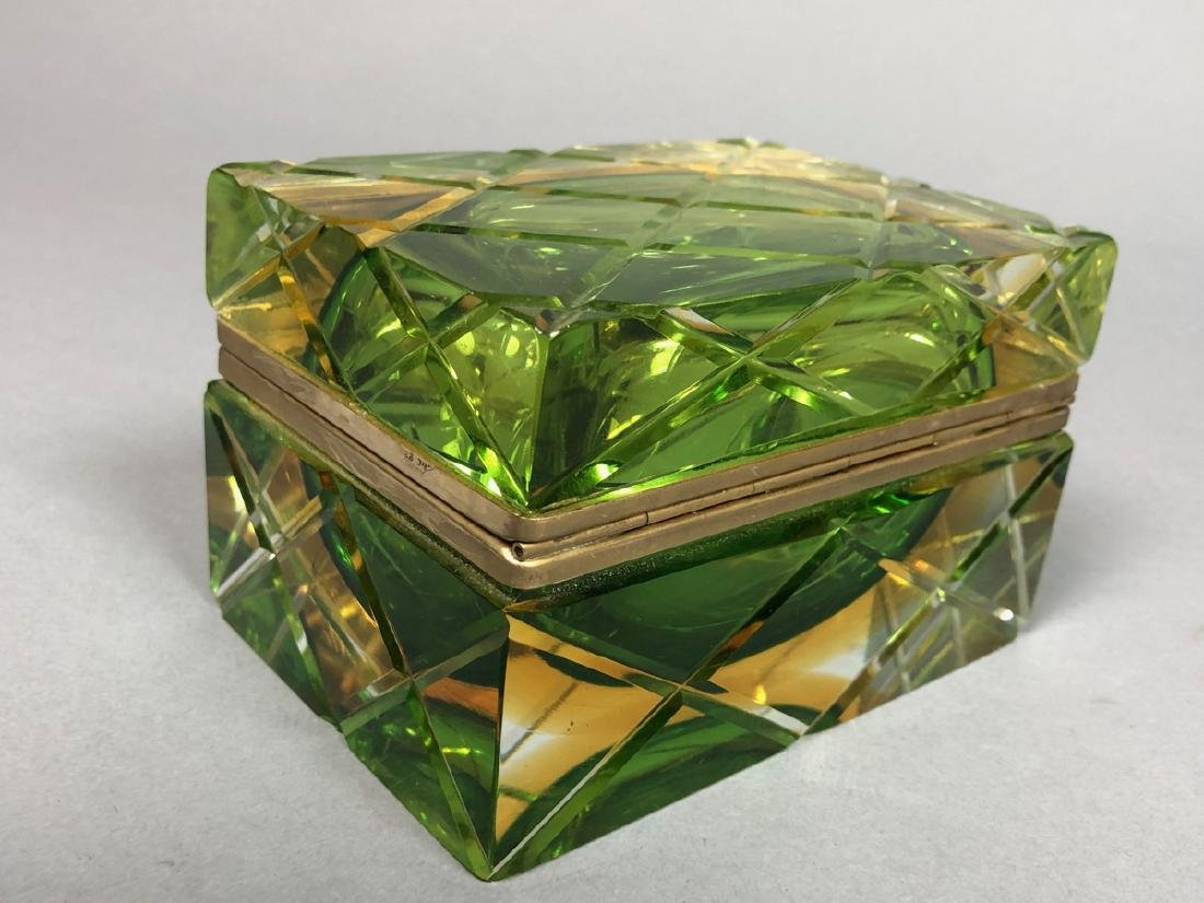 Heavy Murano Italian Cased Glass Box. Carved Quil - 2