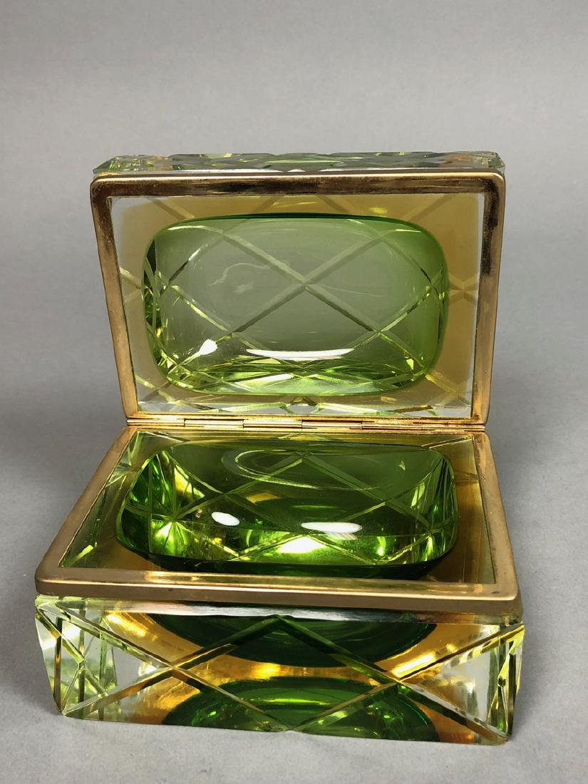 Heavy Murano Italian Cased Glass Box. Carved Quil - 3