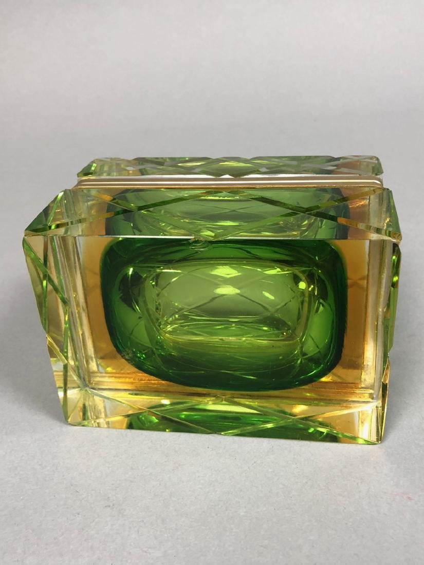 Heavy Murano Italian Cased Glass Box. Carved Quil - 4