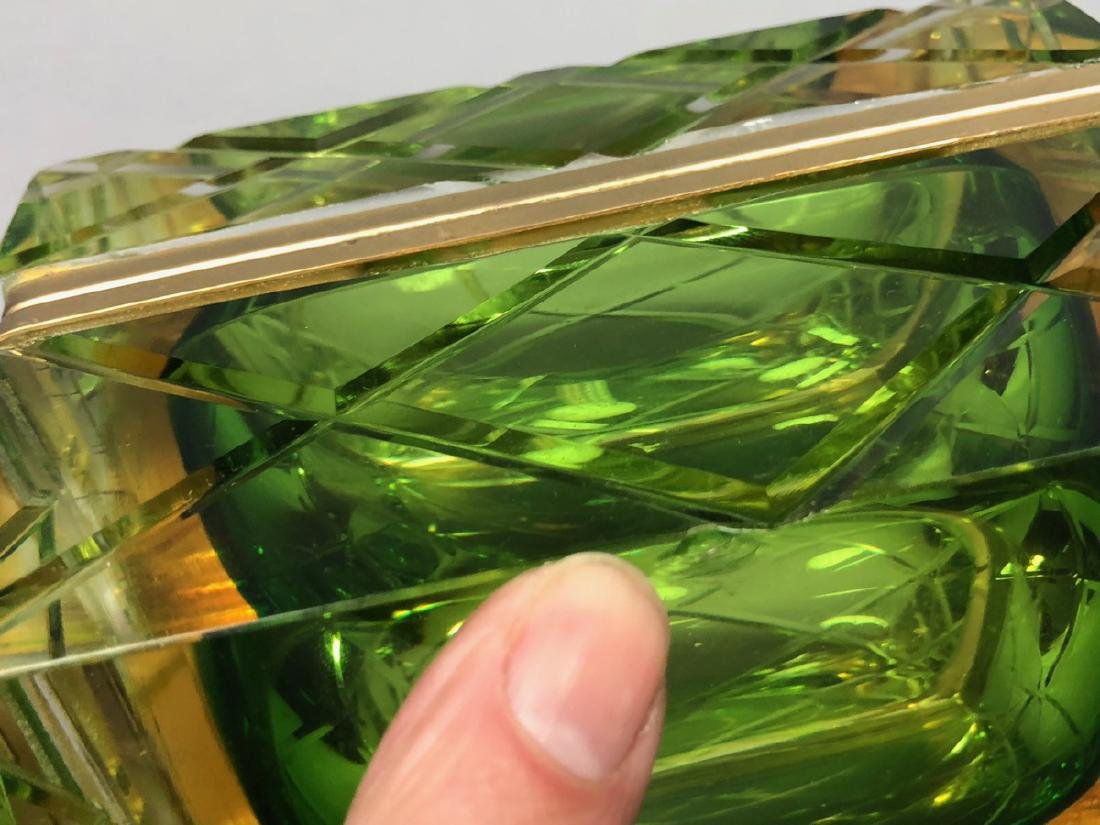 Heavy Murano Italian Cased Glass Box. Carved Quil - 5