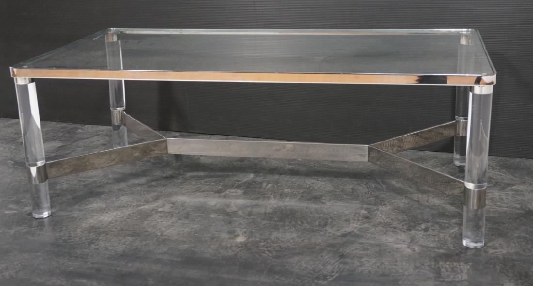 KARL SPRINGER Style Lucite Chrome Cocktail Table.