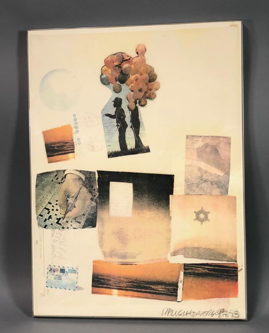 ROBERT RAUSCHENBERG Print. Photo Collage. Pencil