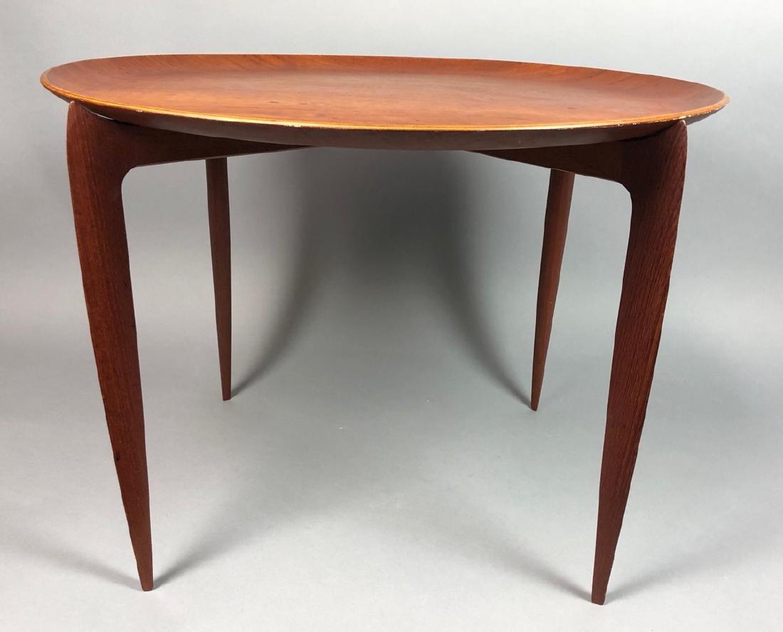 FRITZ HANSEN Danish Teak Tray Table. Large round