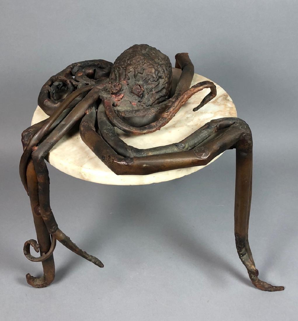 Unique Marble Sculptural Metal Octopus Side Table