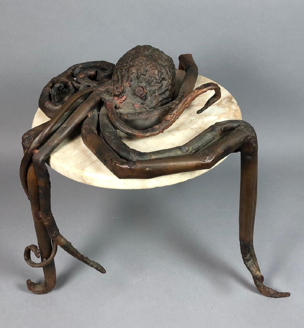 Unique Marble Sculptural Metal Octopus Side Table