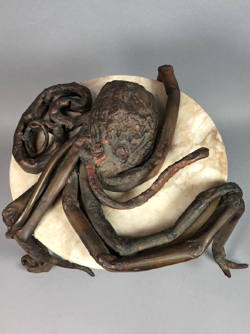 Unique Marble Sculptural Metal Octopus Side Table - 2