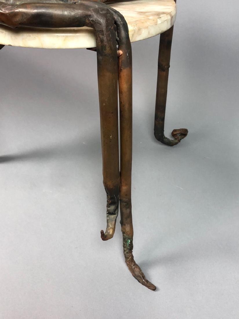 Unique Marble Sculptural Metal Octopus Side Table - 4