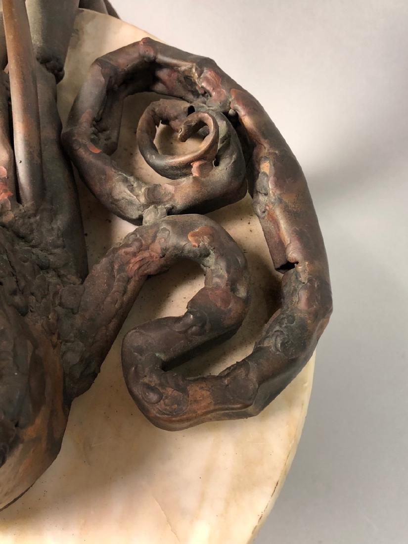 Unique Marble Sculptural Metal Octopus Side Table - 7