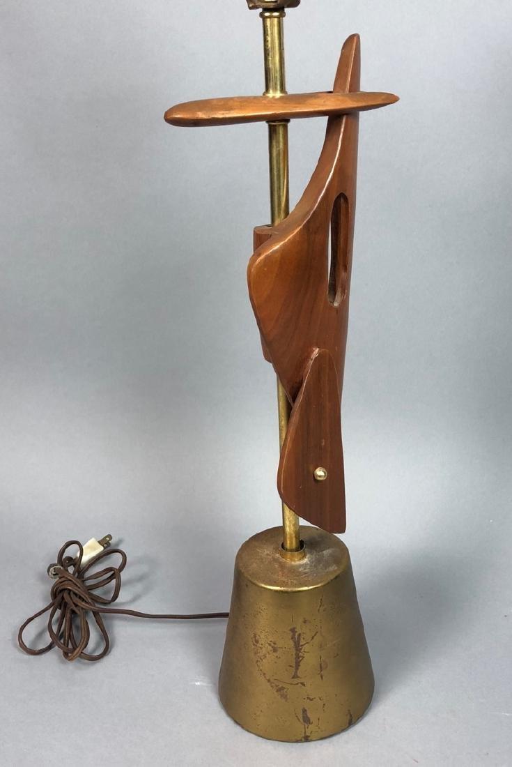 Walnut & Metal Mid Century Table Lamp. Organic wa