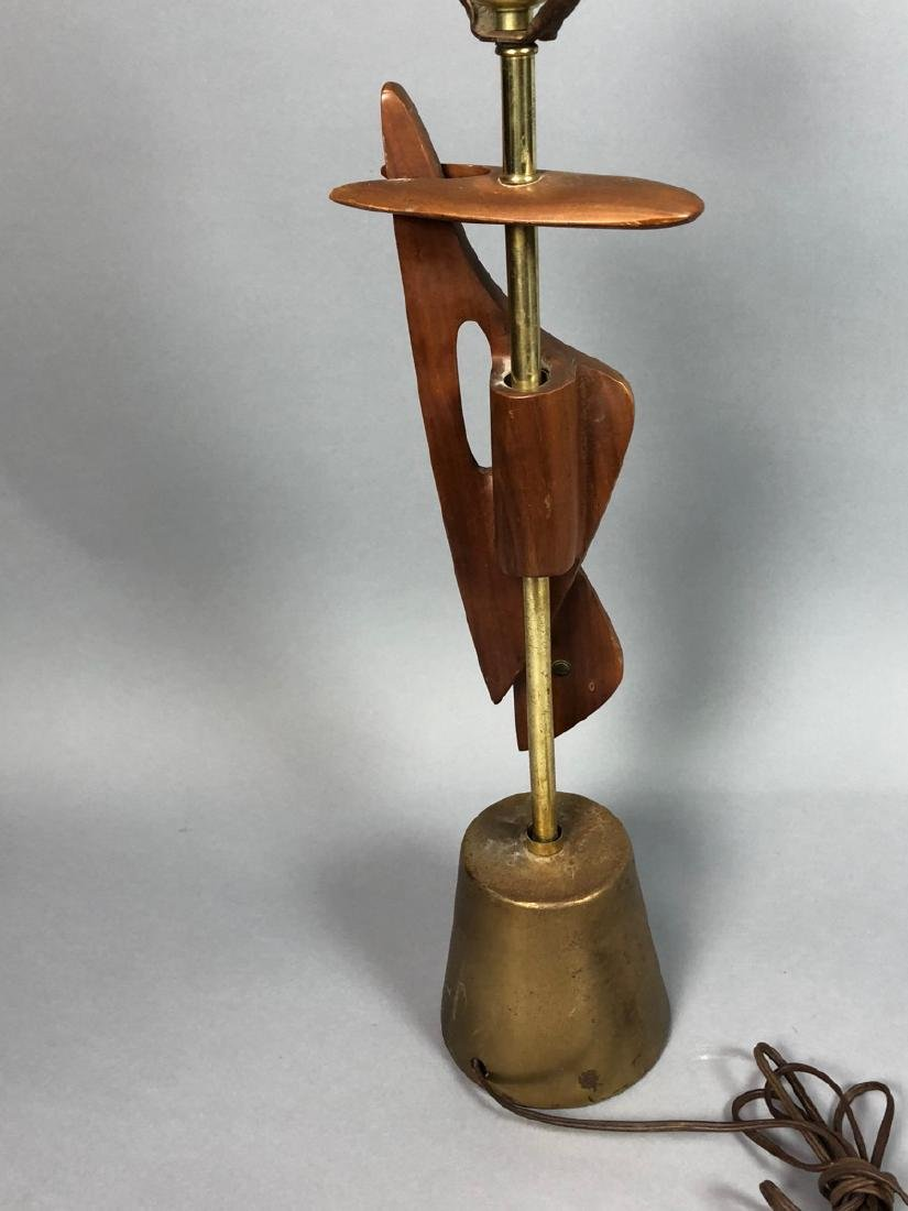 Walnut & Metal Mid Century Table Lamp. Organic wa - 4