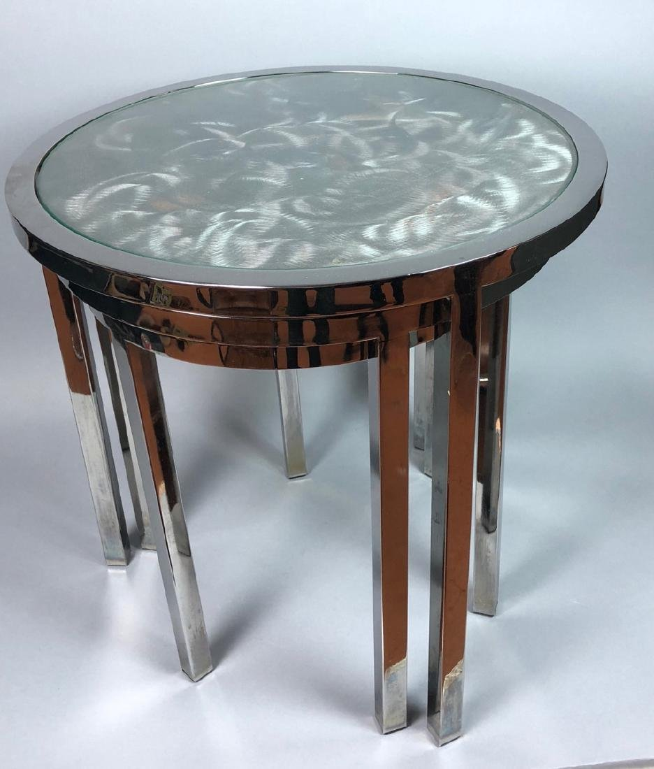 Set 3 Modernist Chrome Stacking Tables. Inset gla