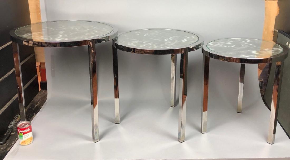 Set 3 Modernist Chrome Stacking Tables. Inset gla - 2