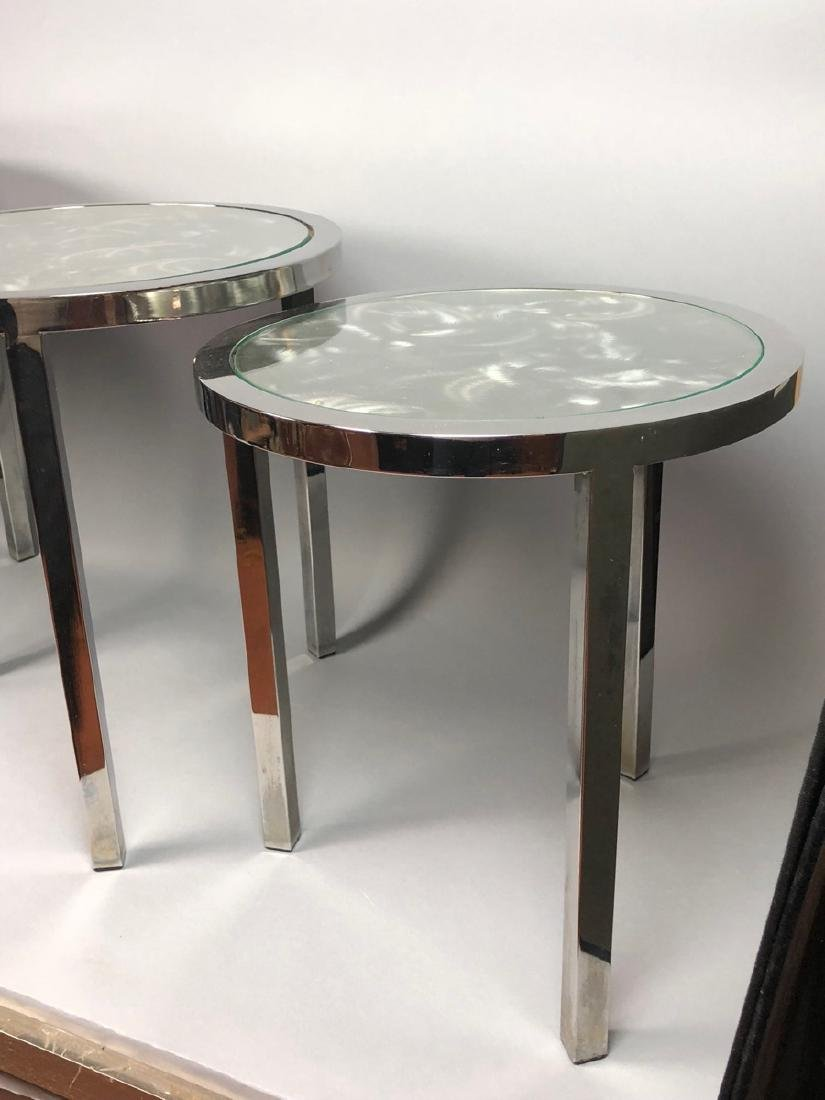 Set 3 Modernist Chrome Stacking Tables. Inset gla - 4
