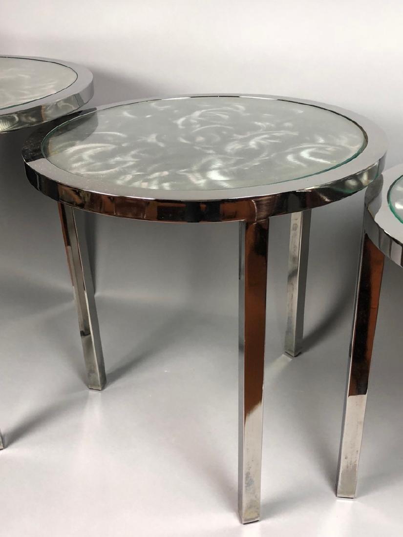 Set 3 Modernist Chrome Stacking Tables. Inset gla - 5