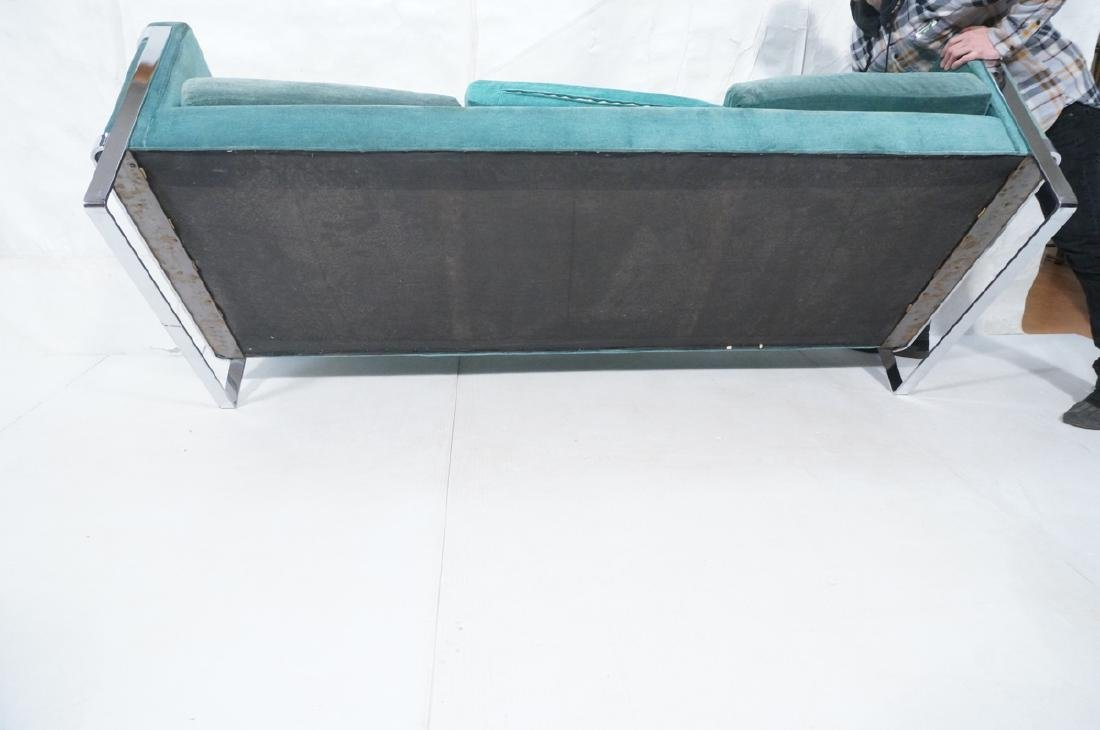 MILO BAUGHMAN Chrome Frame Modern Sofa. Teal gree - 10