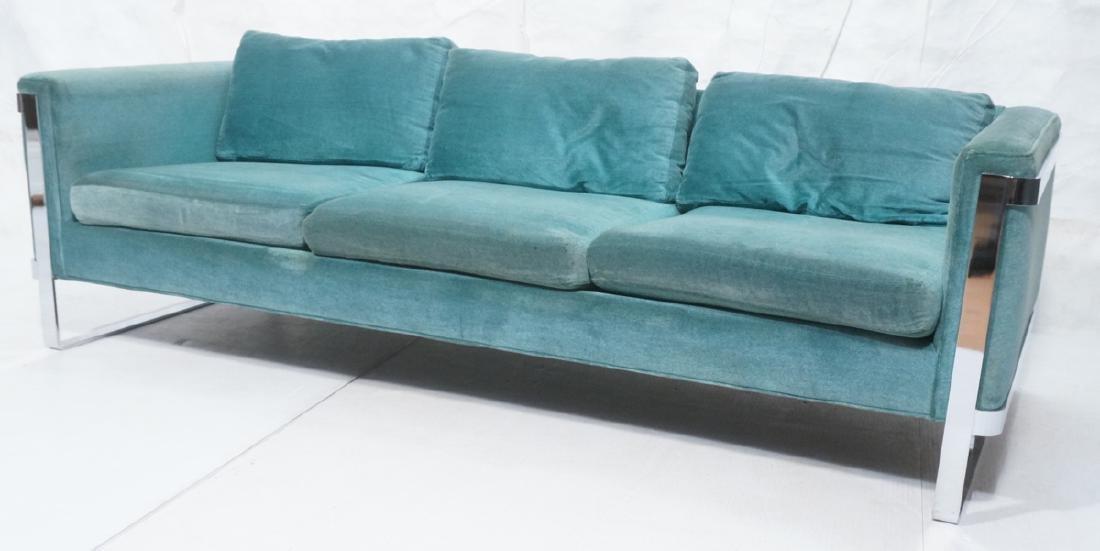 MILO BAUGHMAN Chrome Frame Modern Sofa. Teal gree