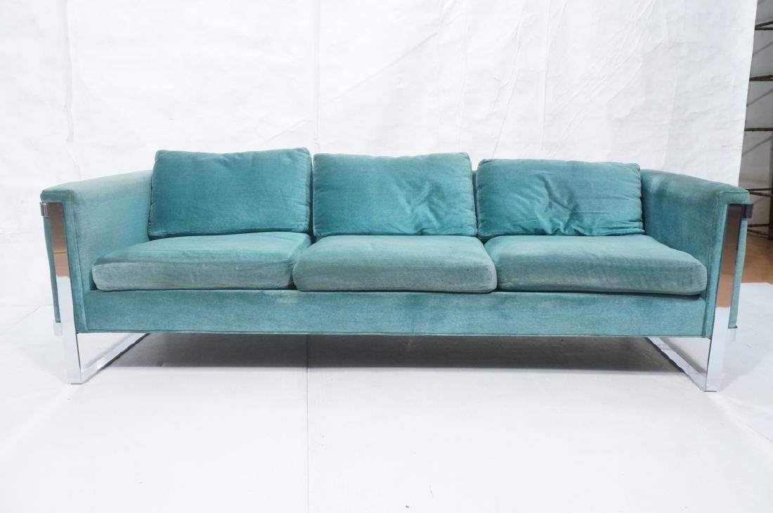 MILO BAUGHMAN Chrome Frame Modern Sofa. Teal gree - 2