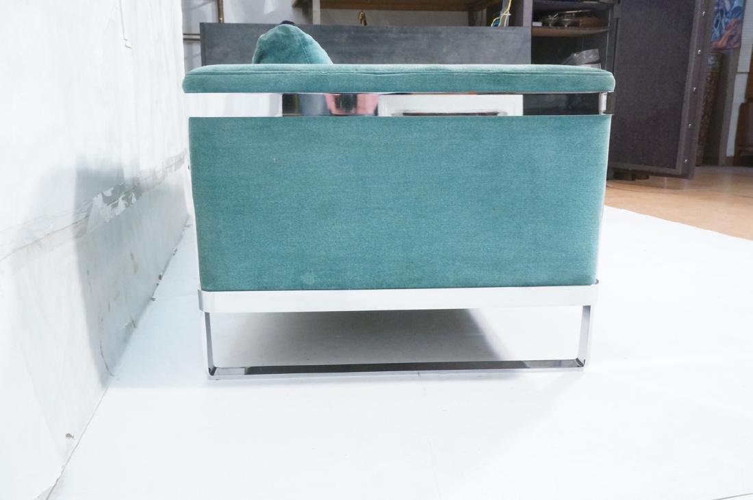 MILO BAUGHMAN Chrome Frame Modern Sofa. Teal gree - 3