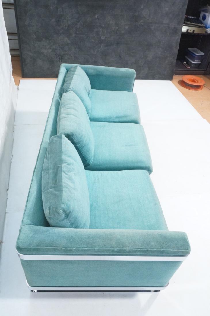 MILO BAUGHMAN Chrome Frame Modern Sofa. Teal gree - 4
